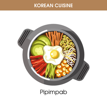 Korean cuisine Pipimbap rice traditional dish food vector icon for restaurant menu. Illustration