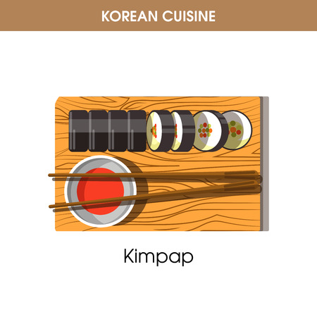 Korean cuisine Kimpap sushi rolls traditional dish food vector icon restaurant menu