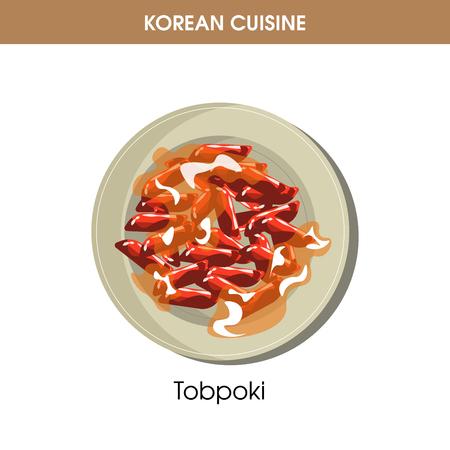 Korean cuisine Tobpoki Tteok-bokki traditional dish food vector icon for restaurant menu