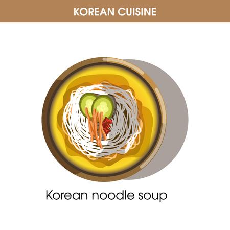 Korean cuisine noodle soup traditional dish food vector icon for restaurant menu Illustration