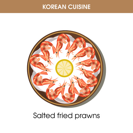 korean salad: Korean cuisine fried prawns traditional dish food vector icon for restaurant menu