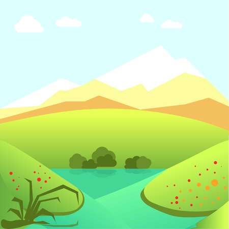 Calm summer landscape with green fields and high mountains Illustration