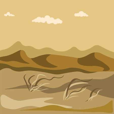 모래 언덕과 노란 잔디 뭉치를 가진 사막에있는 가을