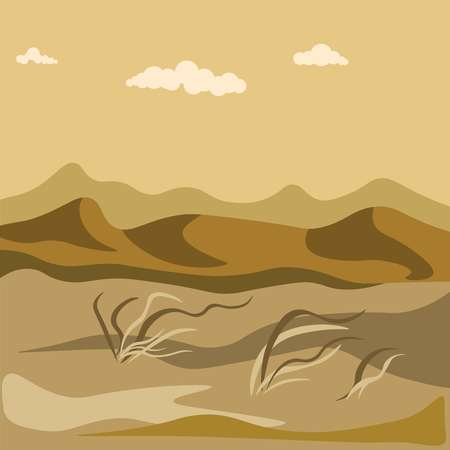Autumn in desert with sand hills and yellow grass bundles
