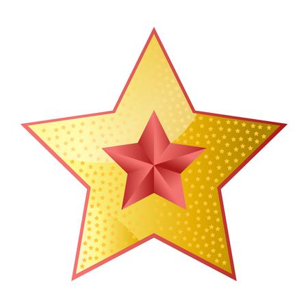 Shiny bright five-pointed star flat vector illustration Vettoriali