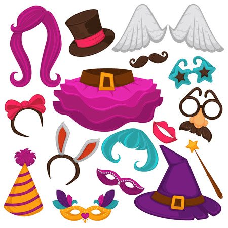 Carnival masks and costume accessory vector flat icons set