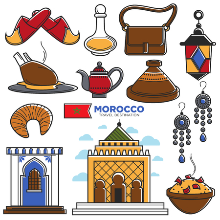 Morocco tourism travel famous symbols and tourist Morrocan landmarks vector icons Иллюстрация