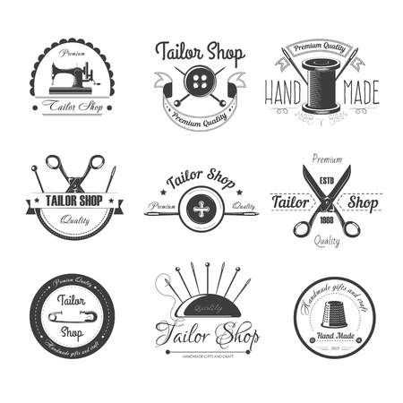 Tailor shop salon vector icons button, sewing needle or scissors and thimble Illustration
