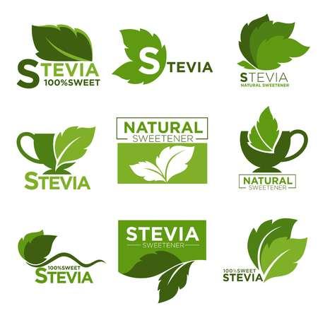 天然ステビア甘味料の砂糖代わりにベクター健康製品アイコンとラベル