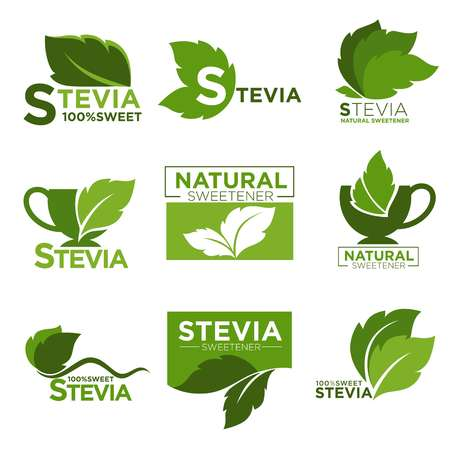 스테비아 감미료 설탕 자연 대체 벡터 건강한 제품 아이콘 및 레이블