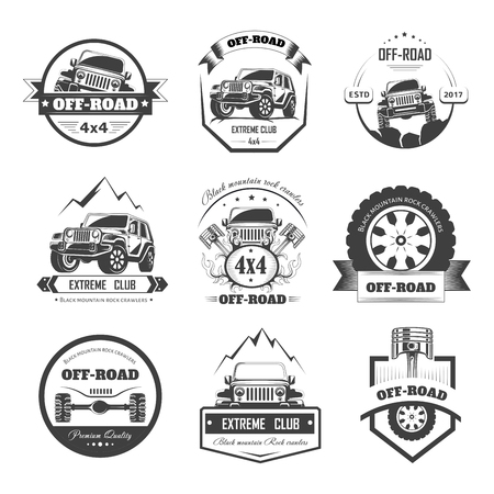 Off-road extreme car or auto driver club vector icons template set