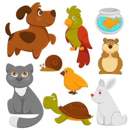 Cartoon pets domestic animals vector flat icons.
