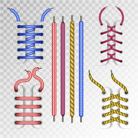 Shoe laces or shoelace and boot lacing types of zigzag, crossed and untied color. Vector isolated footwear lace icons on transparent background