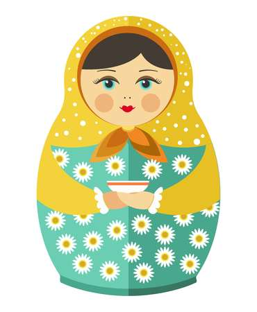 Matryoshka doll or Russian nesting doll with ornament decoration pattern. Vector flat decorative isolated traditional Russia wooden doll toy souvenir Illustration