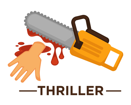 Movie genre icon logo thriller of lsaw and cur hand in blood. Vector flat isolated symbol template for cinema or channel movie thriller genre emblem