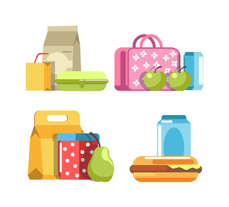 School lunch and meal boxes, breakfast food containers, packs and bottles with pupil rucksack or backpack
