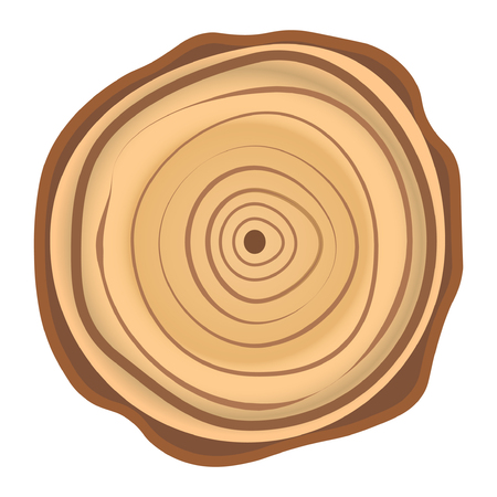 Tree wood year ring. Vector isolated icon of wooden yearly circular section 일러스트