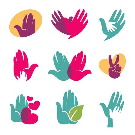 Hand template of helping hands or hand in hand with heart, leaf or dove bird. isolated icons set for children and family care charity organization or company and brand identity emblem