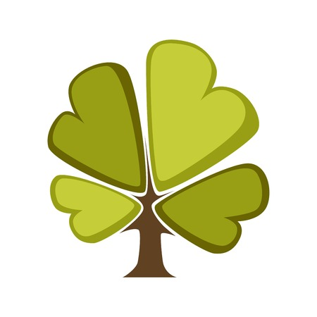 Green tree and tree leaf icon template. isolated cartoon maple, oak or elm and maple deciduous forest symbol for eco environment or horticulture planting icon