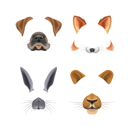 Animal face video chat animated effect or selfie photo filter templates for smartphone camera application. Dog or cat and bunny or puma panther nose and ears cartoon mask vector flat isolated icons Çizim