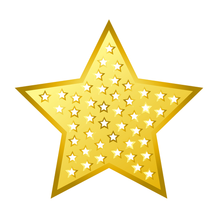 Shiny bright golden five-pointed star isolated cartoon gold flat vector illustration set on white background. Illustration