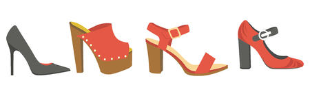 Women shoes or female footwear boots types vector flat isolated icons set