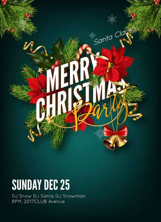 Christmas background or greeting poster template with holidays elements. Vettoriali