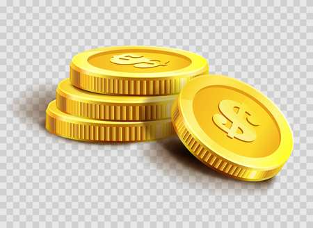 Gold coins pile or golden dollar coin money bank heap. Illustration