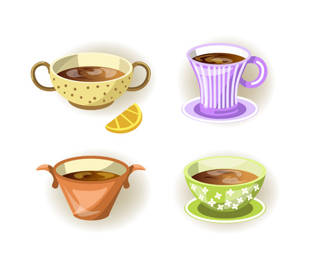 Cups, tea mugs and soup bowls different shape drink food vector icons Illustration