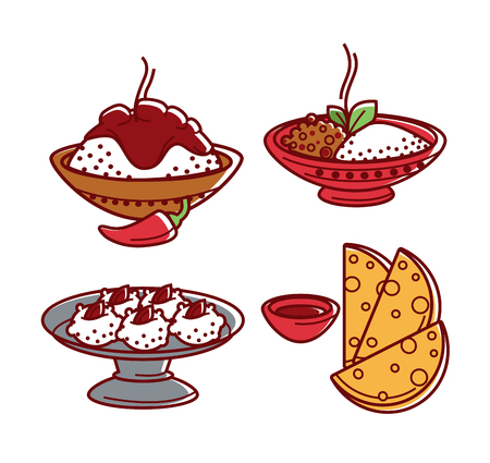 Indian cuisine traditional food dishes vector flat isolated icons set
