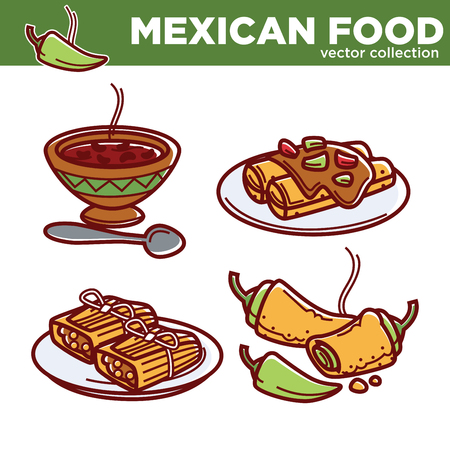 enchilada: Mexican food cuisine traditional dishes vector icons for restaurant menu