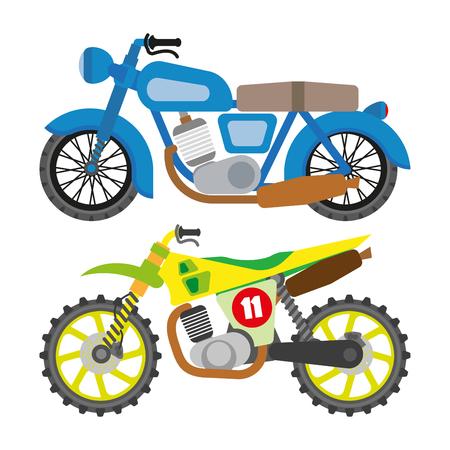 Motorcycle motorbike flat vector icons set