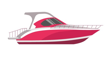 Speedboad yacht or sea cruise sailboat vector flat icon