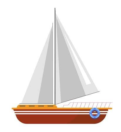 Yacht sailboat or sailing ship, sail boat marine cruise travel vector icon
