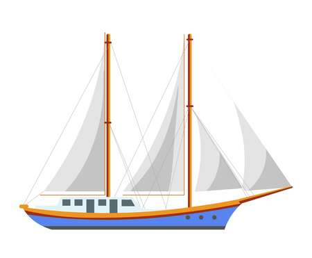 Yacht sailboat or sailing frigate ship sea cruise boat vector flat icon