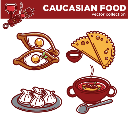 Caucasian cuisine food traditional dishes vector icons for restaurant menu Illustration
