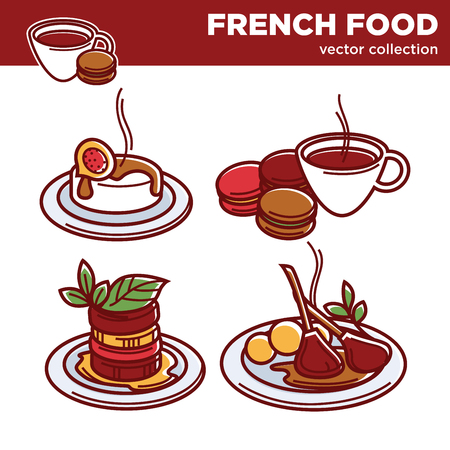 macaron: French food vector collection of exquisite tasty dishes Illustration
