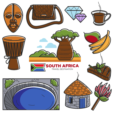 South Africa travel tourism landmarks and African famous tourist attractions vector icons Vector Illustration