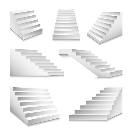 계단 또는 계단 및 연단 계단 사다리 벡터 3D 격리 된 아이콘 집합 일러스트
