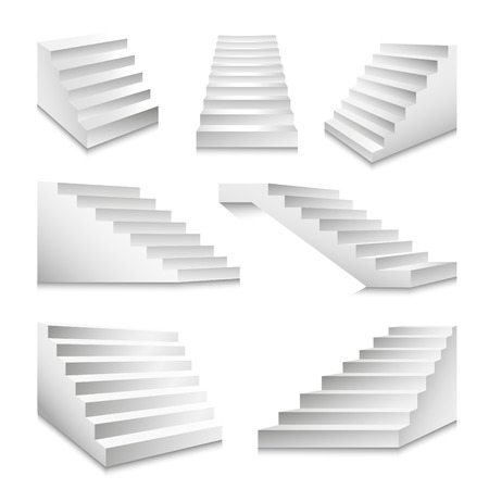 Stairs or staircases and podium stairway ladders vector 3D isolated icons set Çizim