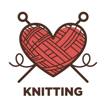 Knitting icon of wool in heart shape with knit needles.