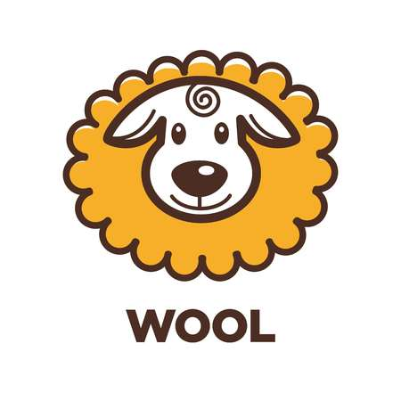 Wool sheep label for yarn knitting handicraft or clothing production.