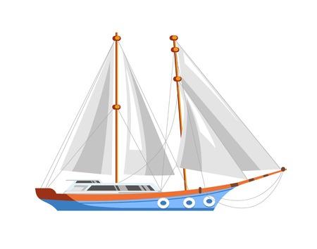 Żaglówka lub żaglowiec na morski rejs morski.