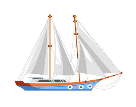 motorboat: A sailboat or sailing ship for sea marine cruise.