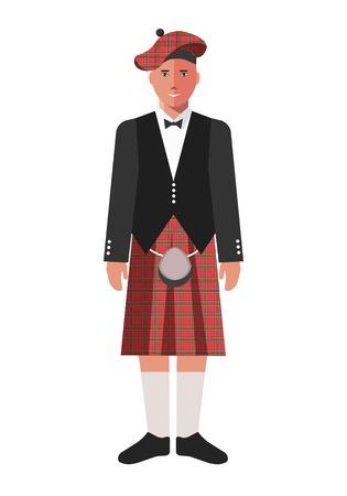 Scotsman in red kilt skirt and black jacket