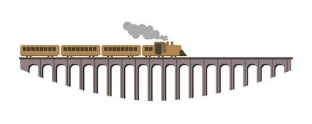 electric train: Huge bridge with long old vintage steam train