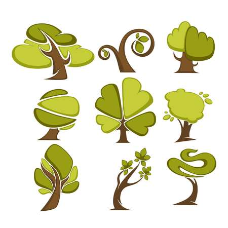 cypress: Green trees and tree leaf icons or logo templates. Illustration