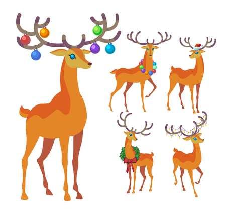 Reindeer Christmas icon. Graceful deer collection. Illustration