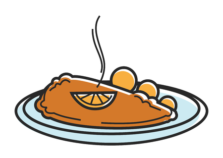 Austria Wiener Schnitzel cutlet Austrian tourism travel landmark famous dish vector icon