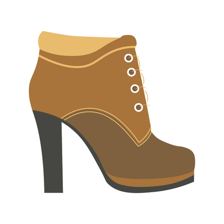 Warm female half-boot on heel made of suede Illustration